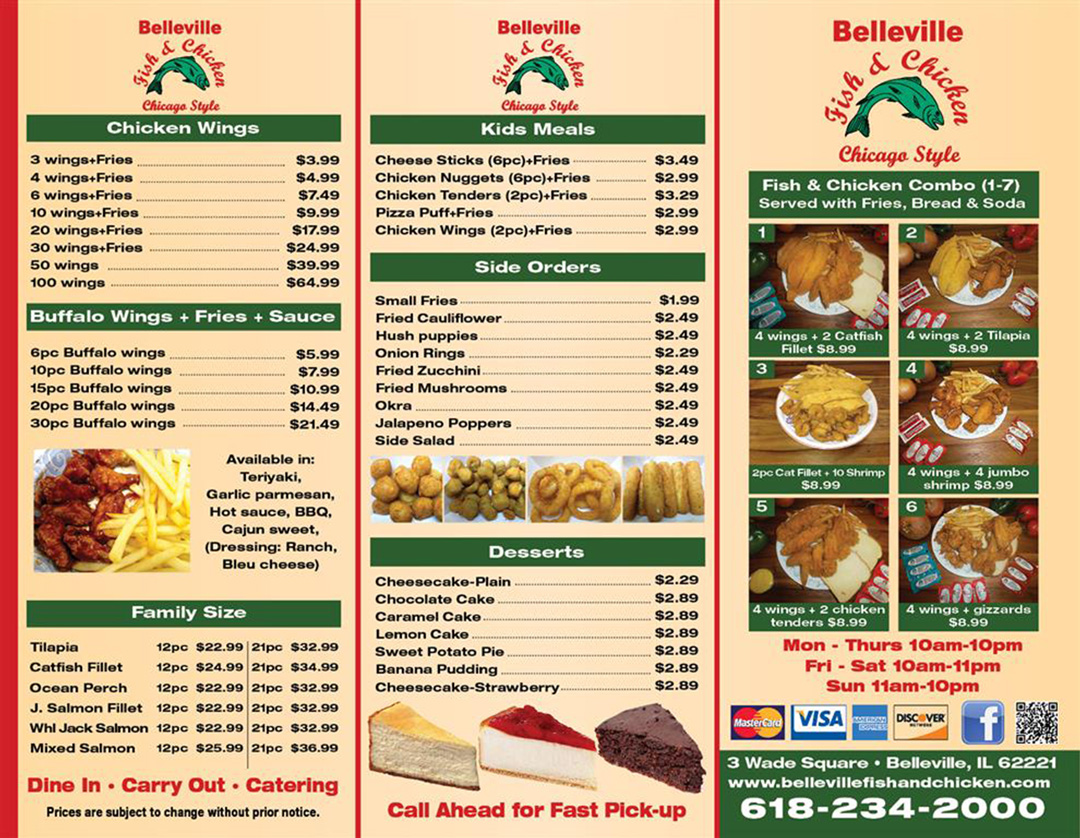 Belleville fish and chicken for Fish and chicken menu